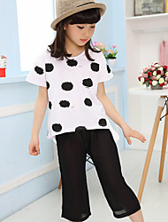Girl's Cotton Summer  Chiffon Dots Tops Loose Pants  Two-piece