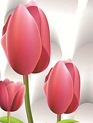 JAMMORY Floral Wallpaper Contemporary Wall Covering,Canvas Stereoscopic Large Mural Red Tulips