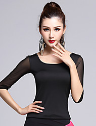 Latin Dance Dress Tops 1 Piece Women's Performance Rayon Black / White Half Sleeve BacklessNo Skirts