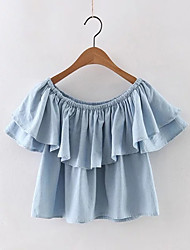 Women's Casual/Daily Sexy / Street chic Summer Blouse,Solid Boat Neck Short Sleeve Blue Cotton Thin