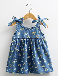 2016 Brand Girls Summer Denim Dress Classical Sleeveless Baby Girl Dresses Plaid Princess Dress Children's Clothing