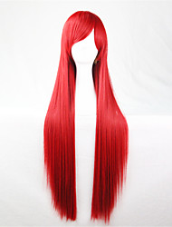 Europe And The United States The New Color Wig 80 CM Wide Red Long Straight Hair Wig