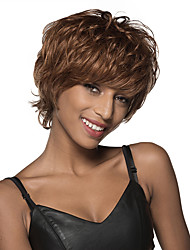 Attractive Short Layered Wave Monofilament Top Human Hair Wig 8 Inches