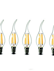 5 pcs shenmeile e14 6w 6 cob 600 lm blanc chaud CA35 dimmable conduit bougies ac 220-240 v