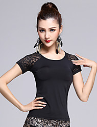 Latin Dance Tops Women's Performance Spandex  1 Piece M/L/XL Black Colors Short Sleeve Backless