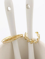 European Style Golden Leaf Band Midi Ring for Men/Women Jewelry(2PCS/Set)