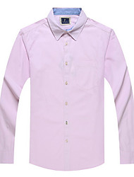 Men's Solid Casual / Work / Sport Shirt,Cotton Long Sleeve Pink