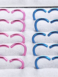 40PCS Heart Shape  316L Stainless Steel Nose Rings & Studs Nose Ear Piercing Ring Body Jewelry (1 Box)