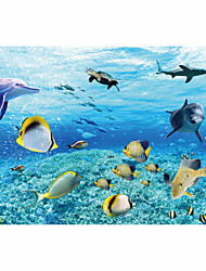 JAMMORY Art Deco Wallpaper Contemporary Wall Covering,Canvas Stereoscopic Large Mural  Sky Blue Underwater World of Fish