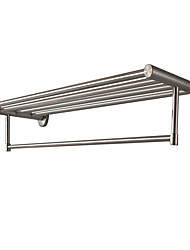 Bathroom stainless steel wire drawing double towel rack