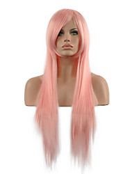 Cosplay Wig  Long Straight Pink Hair Synthetic Wig.
