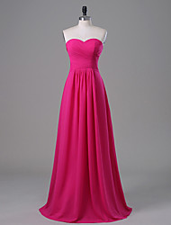 Floor-length Chiffon Bridesmaid Dress A-line Strapless / Sweetheart