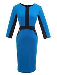 Gaine Robe Femme TravailMosaïque Col Ras du Cou Mi-long ½ Manches Bleu Rouge Gris Vert Coton Autres Toutes les Saisons Micro-élastique
