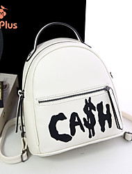M.Plus® Women's Fashion Korean Letter Print PU Leather Backpack