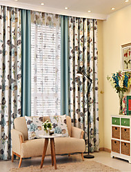 Two Panels European Country Patchwork Polyester Curtain Draps Fish Pattern