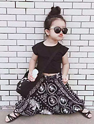 Girl's Cotton Summer Fashion  black Tee  Harem Pants  Leisure  Two-Piece Set