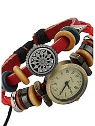 Damen Modeuhr Armband-Uhr digital Leder Band Böhmische Rot Marke