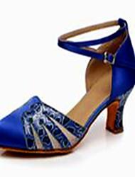 Non Customizable Women's Dance Shoes Latin Satin Cuban Heel Blue