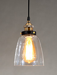 Industrial Edison Simplicity Glass Pendant Lights Metal Base Cap Dining Room / Study Room/Office / Hallway light Fixture