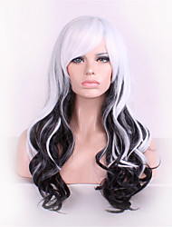 Europe And The United States The New Anime Wigs 28 inch Black And White Mixed High Temperature Curly Hair Silk Wig