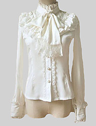 Blouse/Shirt Classic/Traditional Lolita 1950s Lolita Cosplay Lolita Dress White Solid Lolita Long Sleeves Lolita Blouse For Chiffon