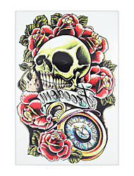 8PCS Waterproof Rose Flower Skull Picture Tattoo Design Temporary for Women Men Body Chest Waist Art Tattoo Sticker