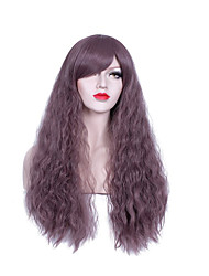 Long Purple Color Popular Natural Wave Synthetic Wig For Woman