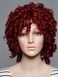 Fashion Synthetic Wigs Red Color Curly Style Top Quality Wigs