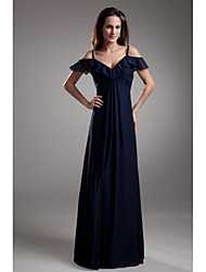 Formal Evening Dress A-line Spaghetti Straps Floor-length Chiffon with
