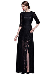 Formal Evening Dress Sheath / Column Jewel Floor-length Lace with Lace