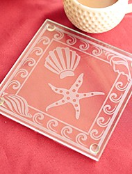 Seashell and Starfish Pattern Glass Coaster (set of 1) 9*9cm Beter Gifts® Wedding Favors
