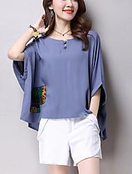Mulheres Blusa Casual Plus Sizes / Vintage Verão,Estampado Azul / Vermelho Algodão / Linho Decote Redondo Manga Curta Fina