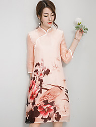 Women's Vintage Floral A Line Dress,Stand Knee-length Silk