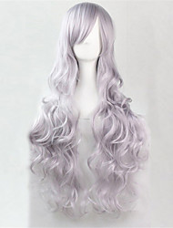 Europe And The United States The New Color Long Curly Wig 80 CM High Temperature Smoke Grey Hair Wigs