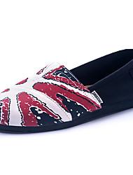 Синий / Красный-Женская обувь-Для прогулок / На каждый день-Полотно-На плоской подошве-Удобная обувь / Стиль / С круглым носком-Лоферы /