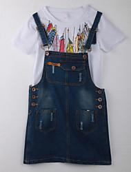 Girl's Polka Dot Clothing Set,Cotton Summer White