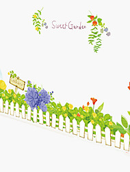 Green Skirting Stairs Sweet Garden Flower Wall Stickers Environmental Bedroom Wall Decals