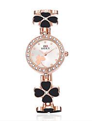 Mulheres Relógio de Moda Quartzo Lega Banda Flor Preta Branco Branco Preto