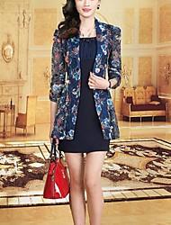 Street chic Sheath Dress,Print Shirt Collar Above Knee ¾ Sleeve Blue Polyester Summer Mid Rise Micro-elastic