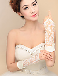 Elbow Length Fingerless Glove Satin / Lace / Elastic Satin Bridal Gloves / Party/ Evening Gloves Spring / Summer / Fall / Winter Ivory