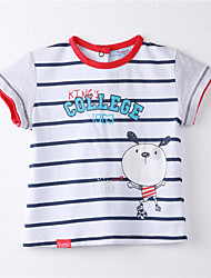 Girl's Striped Tee,Cotton Summer White