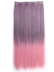 Ombre apliques de cabelo sintetico Perruque Straight Natural Hair Hairpiece Synthetic Hair Clip In Hair Extensions