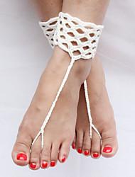 Cadeia de tornozelo das mulheres crochê moda pulseira de algodão anel descalços sandálias