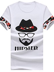 Men's Casual Slim Bearded Printing Cotton Short Sleeved T-Shirt,Cotton / Polyester Casual / Plus Sizes Print
