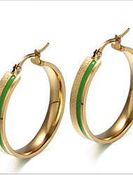 WOMEN Titanium Steel gold green  Hoop Earrings