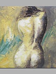 Peint à la main Nu Peintures à l'huile,Traditionnel / Réalisme / Méditerranéen / Style européen / Modern / Classique Un Panneau Toile