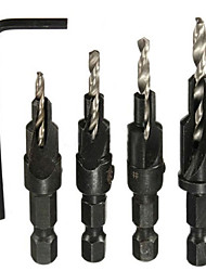 4pcs HSS Ti Countersink Drill Bit Set Wood Countersinks Screw Size #6 #8 #10 #12