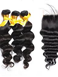 Trama do cabelo com Encerramento Cabelo Brasileiro Ondulação Larga 18 Meses 4 Peças tece cabelo