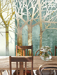 Shinny Leather Effect Large Mural Wallpaper Cartoon Trees Art Wall Decor Wall Paper