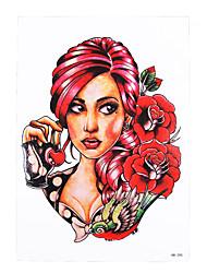 8pcs beleza menina de composição geisha crânio padrão de flor decalque arte corporal projeto tatuagem falsa mulheres temporárias homens